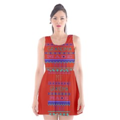 My Grandma Made This Ugly Holiday Red Background Scoop Neck Skater Dress