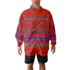 My Grandma Made This Ugly Holiday Red Background Wind Breaker (kids)