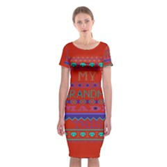 My Grandma Made This Ugly Holiday Red Background Classic Short Sleeve Midi Dress