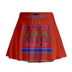 My Grandma Made This Ugly Holiday Red Background Mini Flare Skirt