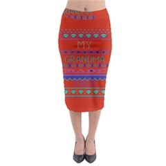 My Grandma Made This Ugly Holiday Red Background Midi Pencil Skirt