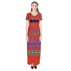 My Grandma Made This Ugly Holiday Red Background Short Sleeve Maxi Dress
