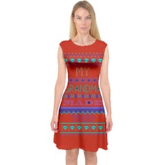 My Grandma Made This Ugly Holiday Red Background Capsleeve Midi Dress