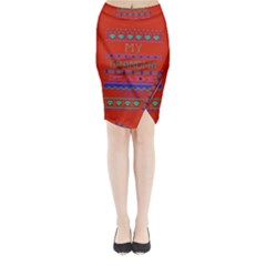 My Grandma Made This Ugly Holiday Red Background Midi Wrap Pencil Skirt