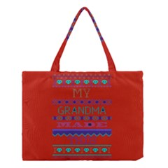 My Grandma Made This Ugly Holiday Red Background Medium Tote Bag