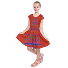 My Grandma Made This Ugly Holiday Red Background Kids  Short Sleeve Dress