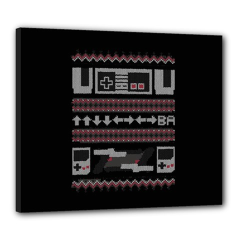 Old School Ugly Holiday Christmas Black Background Canvas 24  X 20