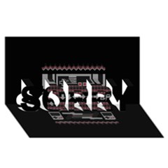 Old School Ugly Holiday Christmas Black Background Sorry 3d Greeting Card (8x4)