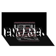 Old School Ugly Holiday Christmas Black Background Engaged 3d Greeting Card (8x4)