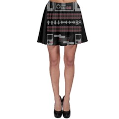 Old School Ugly Holiday Christmas Black Background Skater Skirt