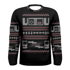 Old School Ugly Holiday Christmas Black Background Men s Long Sleeve Tee