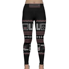 Old School Ugly Holiday Christmas Black Background Classic Yoga Leggings