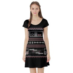 Old School Ugly Holiday Christmas Black Background Short Sleeve Skater Dress