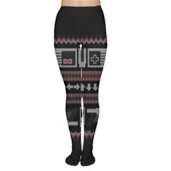 Old School Ugly Holiday Christmas Black Background Women s Tights