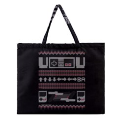 Old School Ugly Holiday Christmas Black Background Zipper Large Tote Bag