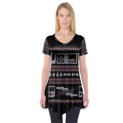 Old School Ugly Holiday Christmas Black Background Short Sleeve Tunic