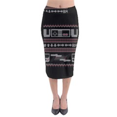 Old School Ugly Holiday Christmas Black Background Midi Pencil Skirt