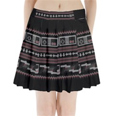 Old School Ugly Holiday Christmas Black Background Pleated Mini Skirt