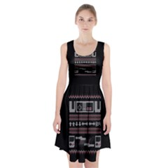 Old School Ugly Holiday Christmas Black Background Racerback Midi Dress