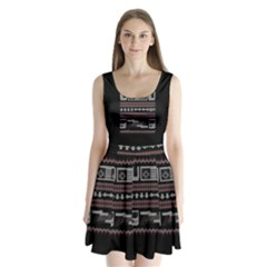 Old School Ugly Holiday Christmas Black Background Split Back Mini Dress