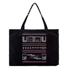 Old School Ugly Holiday Christmas Black Background Medium Tote Bag