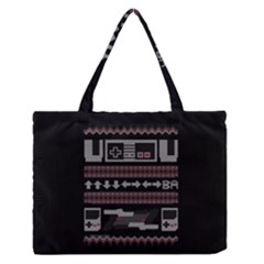 Old School Ugly Holiday Christmas Black Background Medium Zipper Tote Bag