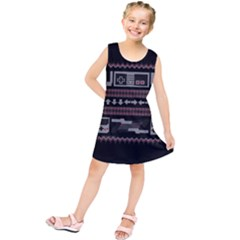 Old School Ugly Holiday Christmas Black Background Kids  Tunic Dress
