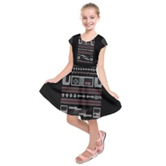 Old School Ugly Holiday Christmas Black Background Kids  Short Sleeve Dress