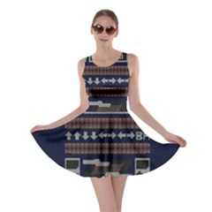 Old School Ugly Holiday Christmas Blue Background Skater Dress
