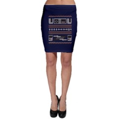 Old School Ugly Holiday Christmas Blue Background Bodycon Skirt