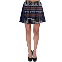 Old School Ugly Holiday Christmas Blue Background Skater Skirt