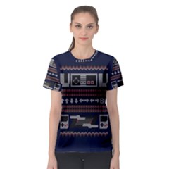 Old School Ugly Holiday Christmas Blue Background Women s Sport Mesh Tee