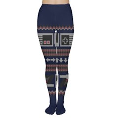 Old School Ugly Holiday Christmas Blue Background Women s Tights