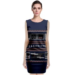 Old School Ugly Holiday Christmas Blue Background Classic Sleeveless Midi Dress