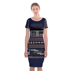 Old School Ugly Holiday Christmas Blue Background Classic Short Sleeve Midi Dress