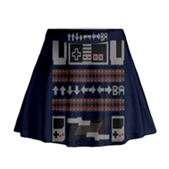 Old School Ugly Holiday Christmas Blue Background Mini Flare Skirt