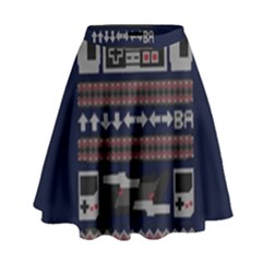 Old School Ugly Holiday Christmas Blue Background High Waist Skirt