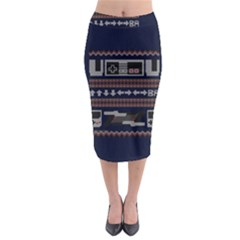 Old School Ugly Holiday Christmas Blue Background Midi Pencil Skirt