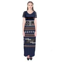 Old School Ugly Holiday Christmas Blue Background Short Sleeve Maxi Dress