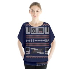 Old School Ugly Holiday Christmas Blue Background Blouse