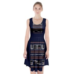 Old School Ugly Holiday Christmas Blue Background Racerback Midi Dress