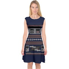 Old School Ugly Holiday Christmas Blue Background Capsleeve Midi Dress