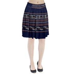 Old School Ugly Holiday Christmas Blue Background Pleated Skirt