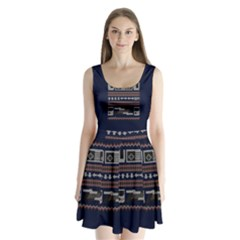 Old School Ugly Holiday Christmas Blue Background Split Back Mini Dress