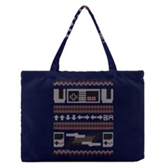 Old School Ugly Holiday Christmas Blue Background Medium Zipper Tote Bag