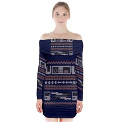 Old School Ugly Holiday Christmas Blue Background Long Sleeve Off Shoulder Dress