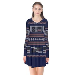Old School Ugly Holiday Christmas Blue Background Flare Dress