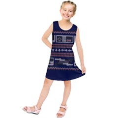 Old School Ugly Holiday Christmas Blue Background Kids  Tunic Dress