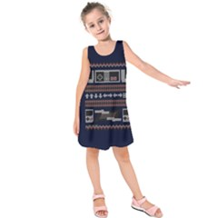 Old School Ugly Holiday Christmas Blue Background Kids  Sleeveless Dress