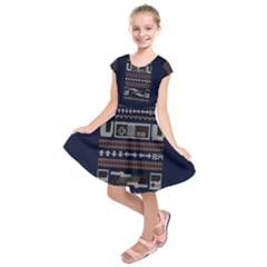 Old School Ugly Holiday Christmas Blue Background Kids  Short Sleeve Dress